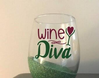 Customized Glitter Dipped Stem Less Wine Glass - Wine Diva - Gift for her - Birthday Gift - Best Birthday Gift - Perfect Birthday