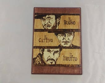 Clint Eastwood's The Good, the Bad, and the Ugly western inspired wood burned wall art.