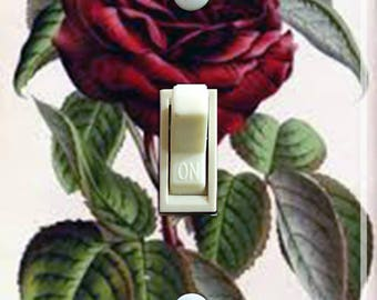 Deep Red Rose Vintage IlIustration Decorative Switch Plate  ***FREE SHIPPING***