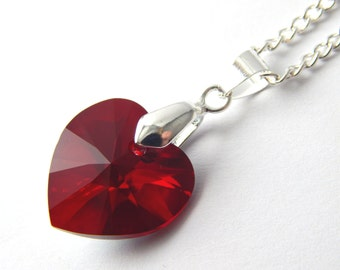 necklace passionate for a in heart grande pendant best plated beautiful with red platinum women chain gift box products