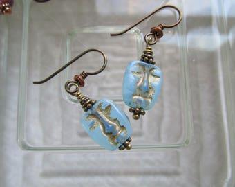 Aqua Blue Easter Island Face Earrings with Bronze Wash Aqua Blue Opaline Czech Glass Unique Mask Earrings Hypoallergenic Niobium Ear Wires