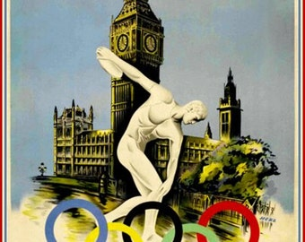 Art Print London Olympics 1948 Poster Print.