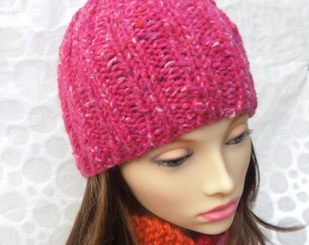 KNITTING PATTERN/RUSTICO Easy Knit Womans Chunky Hat/Knit Straight/ Quick Knit/Girls Hat/ Ribbed Beanie Pattern/ChunkyTweed Wool Hat Beanie