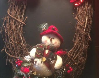 Red Poinsettia Snowman Wreath