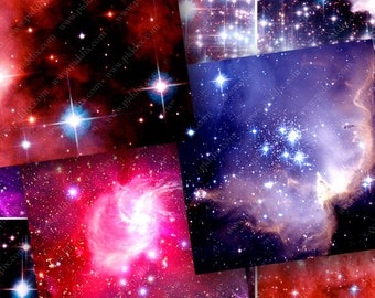 Real Stars Digital Collage Sheet 2-inch squares (50 mm) Galaxies Nebulas Space for Commercial & Personal Use Crafts Cards Art by piddix 925