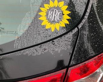 Sunflower Monogram Decal, Custom Sunflower Monogram Sticker, Initials sticker, Yeti Monogram, Macbook monogram, Car monogram
