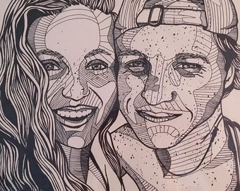"11""X14"" Custom Couple Portrait Drawing"