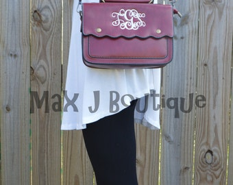 Monogrammed Scalloped Purse  - Personalized Crossbody bag - Embroidered Bag