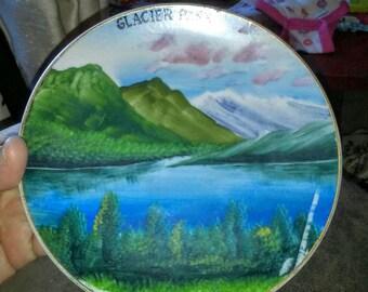 Vintage Handpainted Glacier Park St Marys Lake Souvenir Plate