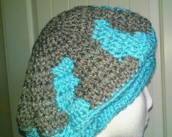 Teal and Gray Beret. Women's Crochet Handmade Accessories