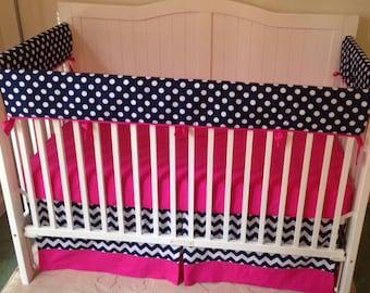 Bumperless Crib Bedding Set Hot Pink And Navy