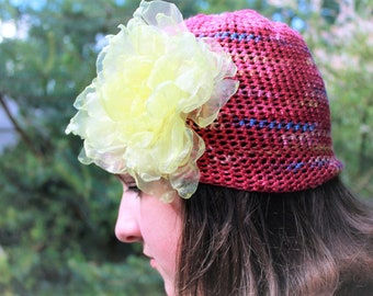 Hat with flowers Beanie summer cotton red mint green purple pink hat with organza crochet summer accessory for her girls woman GIFT for HER