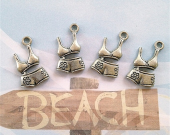 Bikini Bathing Suit Charms--4 pieces-(Antique Pewter Silver Finish)--style 982-