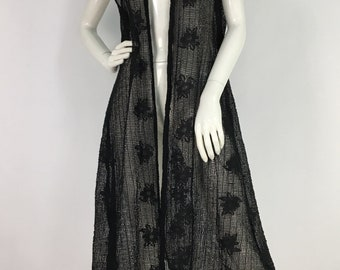 90s black mesh/black mesh beach cover up/vintage lace mesh cover up