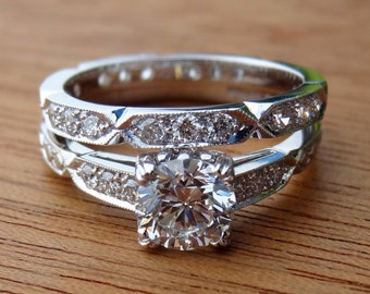 Moissanite Art Deco Antique Vintage Style Engagement Ring 18k White Gold Handmade