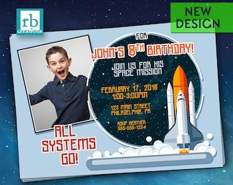 Photo Rocket Birthday Invitation, Space Shuttle Invitation, Spaceship Birthday, Outer Space Party, Astronaut Birthday - Digital Printable