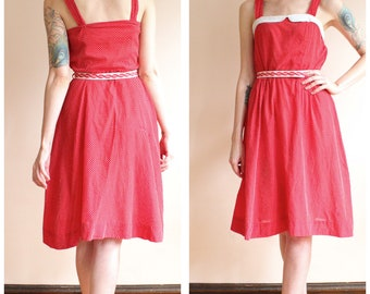 1950s Dress // Bright Red Swiss Dot Dress // vintage 50s dress