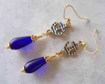 Blue and White Nautical Anchor Earrings (3894)