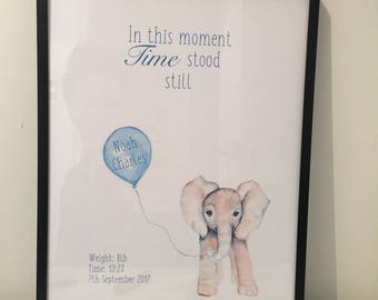 Baby elephant birth print