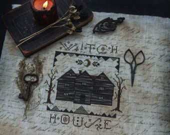 Salem Witch House Primitive Cross Stitch Pattern