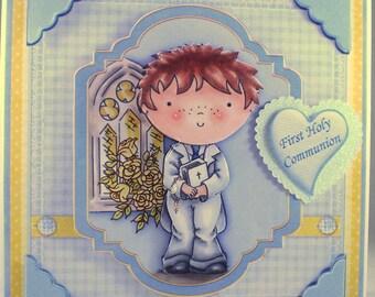 Handmade Decoupage, 3D, Holy Communion Card, Boy, Personalise,Rosary Beads