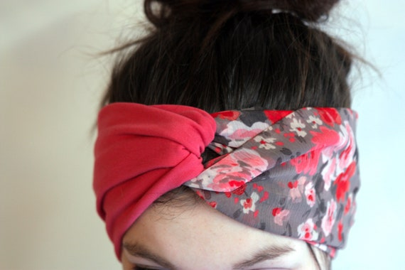 Headband Turban hair Retro two-tone pink and flowers romantic gray Viscose and Cotton Jersey