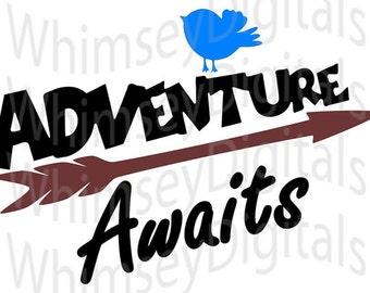 Adventure Awaits, Arrow, BlueBird, SVG Vinyl Cutting Design for Bib or Tshirt, Cut File for Digital Cutters