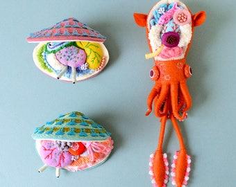 Print: Anatomy of Small Ear Squid & Deep Water Clams - toy felt plush art photo walldecor ocean sea creature softsculpture HineMizushima