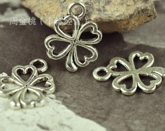 50 pcs of antique silver  flower Charm Pendants 17x13mm little flower petal