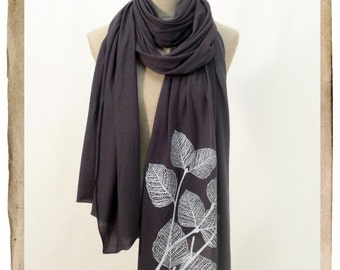 Screenprinted Jersey Long Scarf  - LEAVES, Dark Gray