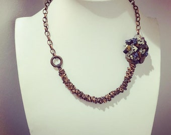Copper Necklace with stone flower