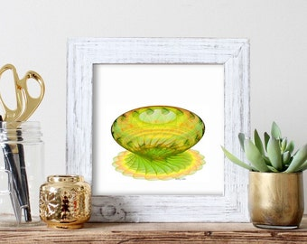 Fractal art print, Square abstract painting, Lime green painting, Wall hanging printable art print for instant download