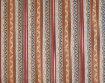 Calico Fabric - Rust Beige Green Stripe - Quilting Treasures YARD