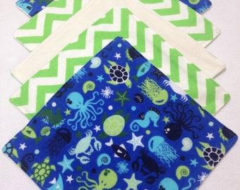 Organic baby washcloths, cloth wipes, organic bamboo, sealife washcloth, flannel baby wipe, organic baby wipe, ocean baby