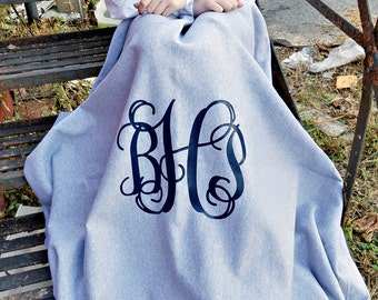 Monogram Blanket ~ Monogrammed Fleece Throw ~ Gift for Her ~ Gift Under 20 b9