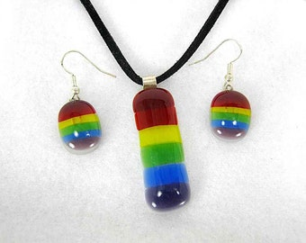 Glass Rainbow Pendant and Earring Set with Sterling Silver
