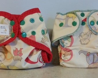 Preemie Newborn Cloth Diaper & Diaper Cover Set-  4 to 9 pounds- Numbers and Babies- 29005