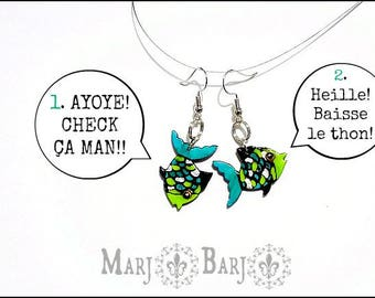 Earrings with wood, hand painted fish