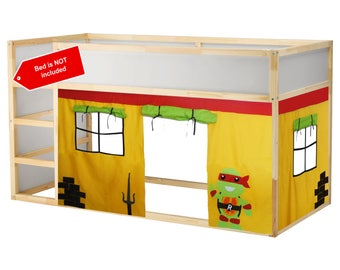 Ready to ship! Ninja turtle inspired theme bed curtain -- no customization