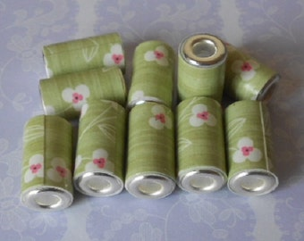 10 Hand made paper tube beads with cores, green daisies