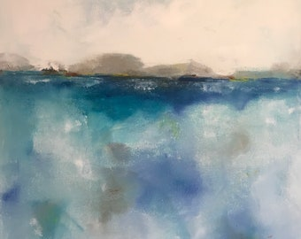 Original abstract seascape painting -Turquoise Ocean  22 x 28
