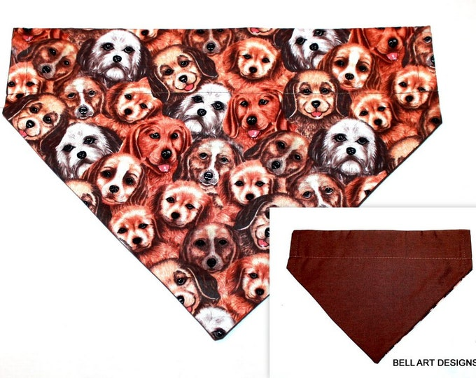 DOG FACES and BROWN ~ Over the Collar ~ Reversible ~ Dog Pet Bandana ~ Bell Art Designs