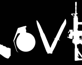 Love with Guns Vinyl Decal Sticker Window JDM Gift Family Homemade Laptop Free Fast Shipping