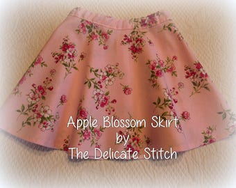 2T Toddler Girl Pink Skirt--Waverly Apple Blossom Print--Free Shipping