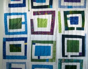 Log Cabin Art Quilt, Fiber Art, Modern, Log Cabin Quilt, Wall Hanging, Table Mat, Improv Art Quilt