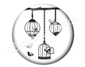 2 cabochons 25 mm glass cabochon bird silhouette, black and white tone cage