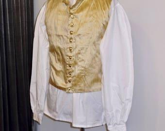 "Readymade Regency Waistcoat, Turned Down Lapel, Gold Dupioni Silk, 43"" Chest"