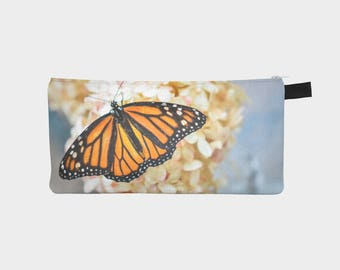 Butterfly Pencil Case, Pencil Pouch, Make Up Bag, Monarch Pouch, Small Bag, Zipper Pouch, Pencil bag, Cosmetic Bag, Stocking Stuffer