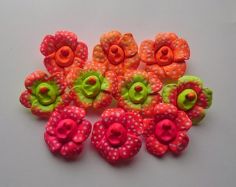 Fluorescent Rafflesia Arnoldii/Corpse Lily Brooches // Polymer Clay // Neon // Psychedelic // Handmade // UV Reactive // Kitsch // Vagina