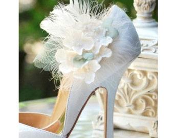 Shoe Clips Ivory & Celadon Hydrangea. Spring Garden Elegant Bridesmaid Bride, More lavender apple green hot pink. Pearl / Gem Feathers Tulle